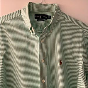 Green and white Ralph Lauren Button down shirt
